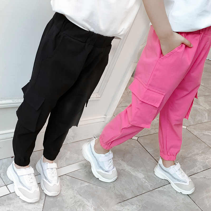 Casual Kids Girls Cargo Pants Pure Color Summer Cool Trousers Pocket Loose  Pant for Teen Girl 4t 8 12y Children Clothing Spring|Pants| - AliExpress
