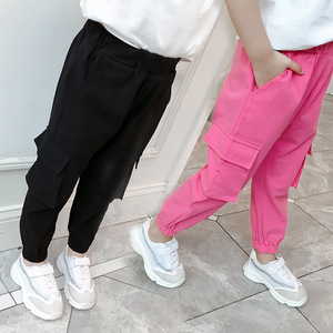 Image 1 - Casual Kids Girls Cargo Pants Pure Color Summer Cool Trousers Pocket Loose Pant for Teen Girl 4t 8 12y Children Clothing Spring