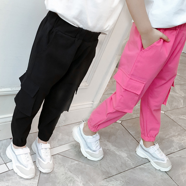 Casual Kids Girls Cargo Pants Pure Color Summer Cool Trousers Pocket Loose Pant for Teen Girl 4t 8 12y Children Clothing Spring