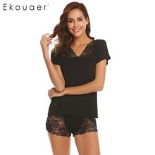 Ekouaer Women Summer Nightwear Pajamas Set Solid Lace Patchwork V Neck Short Sleeve Nighties Pajamas Female Sleepwear Set