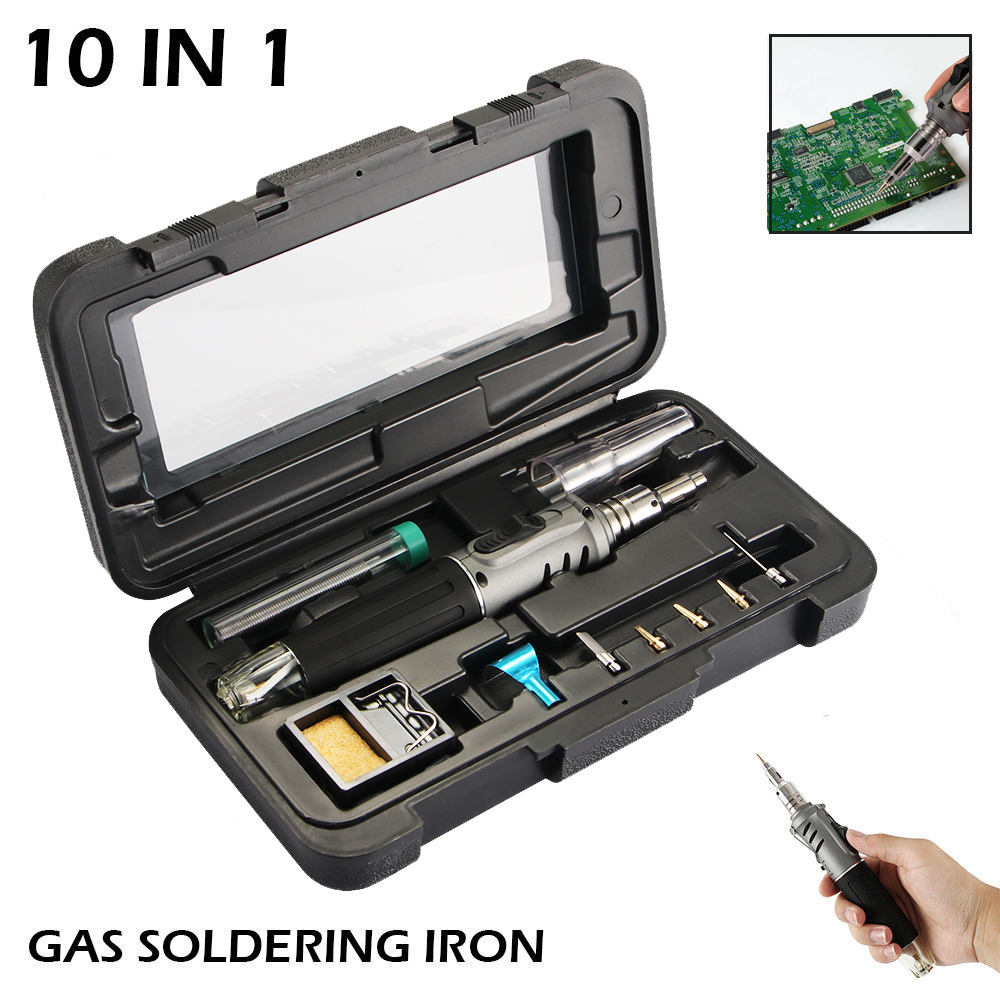 Pro 10 in 1 Pro Butane Gas Soldering Iron Set 26ml Welding Kit Repair Tools Grey