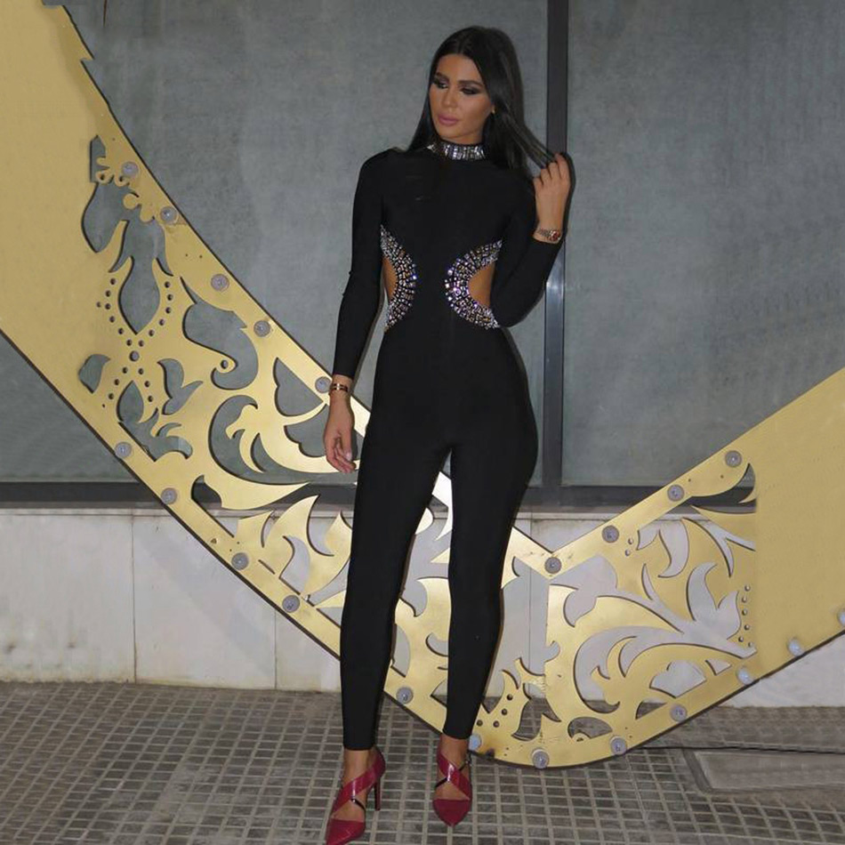 Top Quality Beading Jumpsuits Women New Fashion Long Sleeve Black Bodysuit Sexy Hollow Out Skinny Bandage