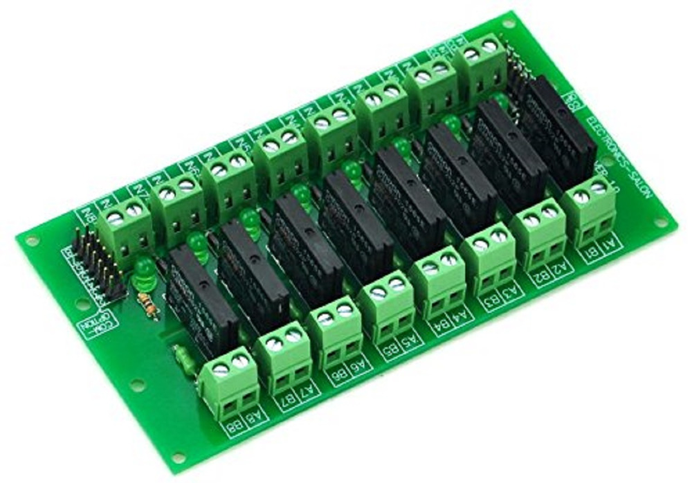 Electronics-Salon DC5V 8 Channels DC-AC 2Amp G3MB-202P Solid State Relay SSR Module Board.