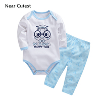 Near Cutest 2pcs Lot Baby Boy Girl Clothes Newborn Toddler Infant Cotton Animal Baby Rompers Pants