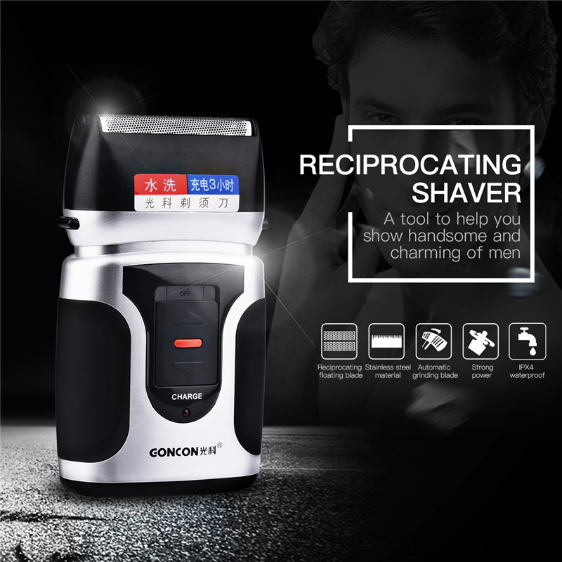 Men's Reciprocating Double Blades Waterproof Electric Shaver Rechargeable Portable Beard Shaving Machine Face Care Tools Razor 2017 hot sales new primitive man shaving machine 5 d waterproof rechargeable crime is portable travel man to the electric razor