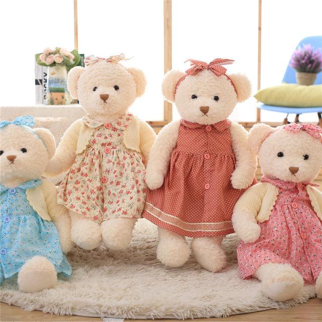 Online Shop Lovely Teddy Bear in Floral Skirt Plush Toys Soft Girl ...