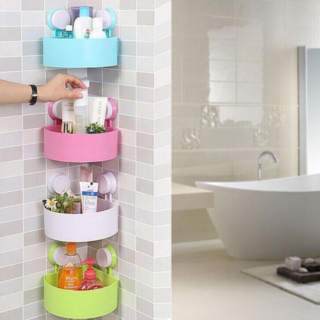 Durable Bathroom Corner Shelf Suction Cup Sucker Shower Organizer Wall  Basket