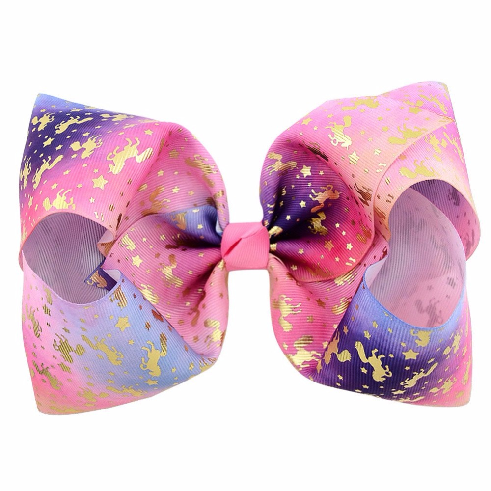1pc 8inch Heart Mermaid Unicorn Print Bows with Clips for Kids Girl Boutique Hairgrips Hair Accessories 825 women hair accessories girl hair fascinators wool felt hat flower girl hair bows with clips