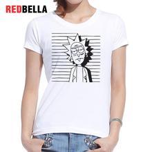REDBELLA 2017 Funny Women T-shirt Rick And Morty Popular Anime Tumblr Tees Clothing White Cotton Fashion Poleras De Mujer Moda