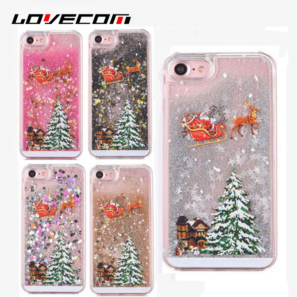 LOVECOM For iPhone 7 6 6S Plus 4S 5S 5C For Samsung S5 S6 S7 Edge Note 3 4 5 Quicksand Clear Christmas Tree Hard Phone Case Bags