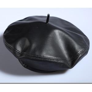 Image 5 - Genuine Leather Beret Hats For Women Winter Flat Cap Female Boina Feminina Fashion Autumn Winter Beret Cap Bone Gorras Painter