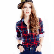 Casual Cotton Plaid Blouses Shirts Women Slim Outwear Long sleeve Flannel Tartan Shirts 2015 Autumn Plus size 3XL