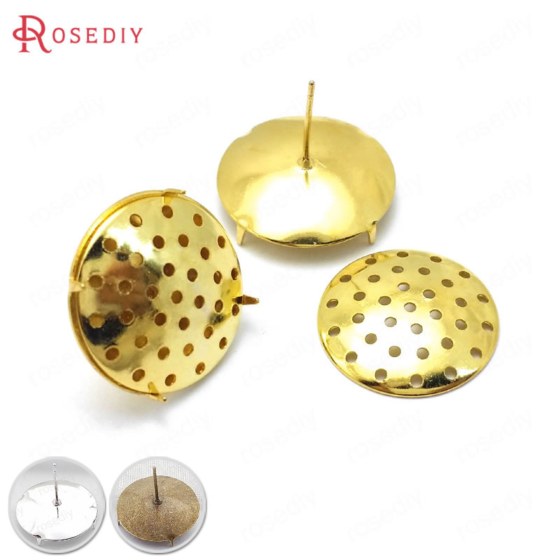 (31673)20 Sets 8MM 12MM 18MM Gold Color Brass Combinable Round Stud Earring Diy Jewelry Findings Earrings Accessories Wholesale