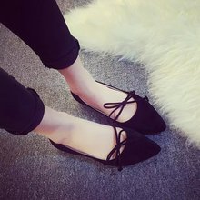 Free Shipping Spring Summer 2016 New Women Fashion Pointed Toe Shallow Mouth Suede Flat Shoes Cute Bow Tassel Flat Heel Shoes