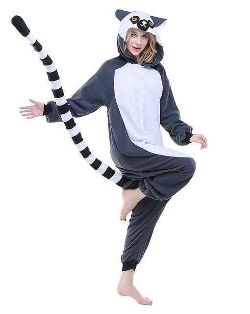 Men Women Halloween Long Tailed Lemur Pajamas Sets Animal ...