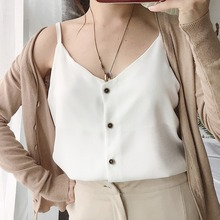 Casual Fashion Tops Single Breasted Solid Camisole Brand High Quality Female