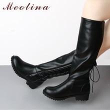 56cab73350f28 Meotina 2018 invierno botas mujer Lace Up Med talones botas rodilla botas  punta redonda moda damas