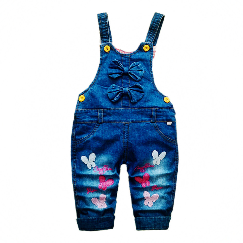 3-4T kids Clothes Bebe Girls Jeans Overalls Cute Long Pants Cartoon Kwaii Butterfly Jumpsuit Denim Rompers Toddler Clothing