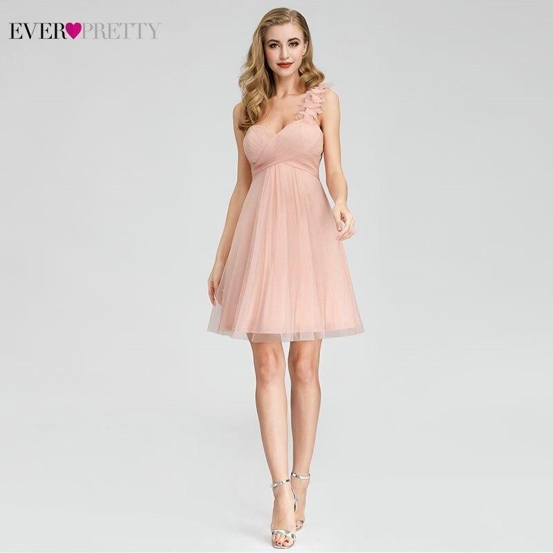 New Sparkle Pink Homecoming Short Dresses Ever Pretty A-Line One Shoulder Elegant Graduation Dresses Vestido De Formatura 2020