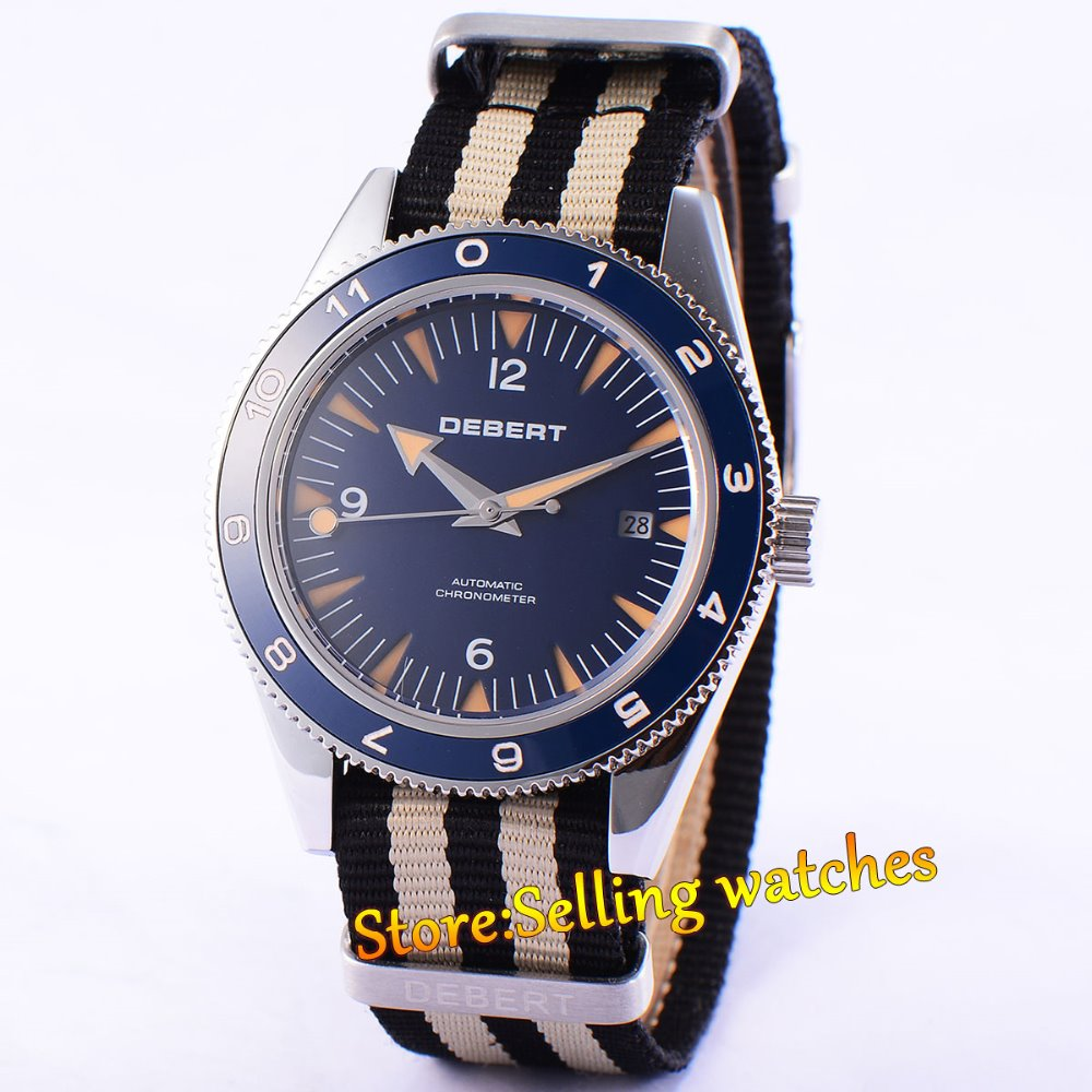 Debert 41mm blue Dial black bezel Sapphire glass Automatic Mens watch цена и фото