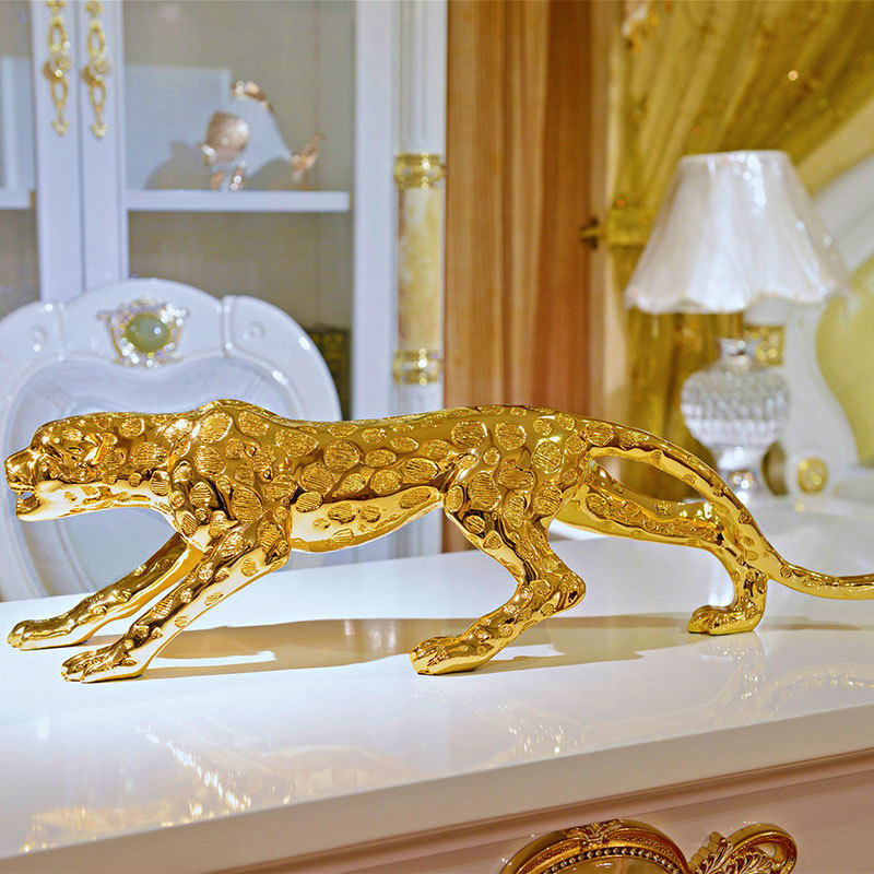 Abstract Modern Gold Panther Sculpture Geometric Resin Leopard Statue Wildlife Decor Gift Craft Ornament Accessories Furnishing
