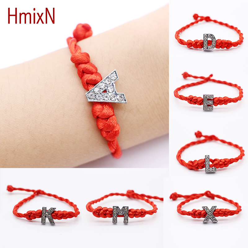 2016 New Letters Bracelet Crystal Charms with Red Rope Lucky Bracelets for Women Cord String Line Handmade Jewelry For Couple