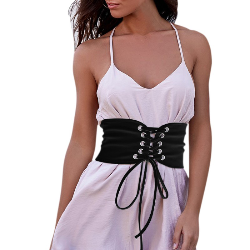 Vintage Black Faux Suede Lace Up Corset Bandage Womens Waist Belt Shape-Making Belt