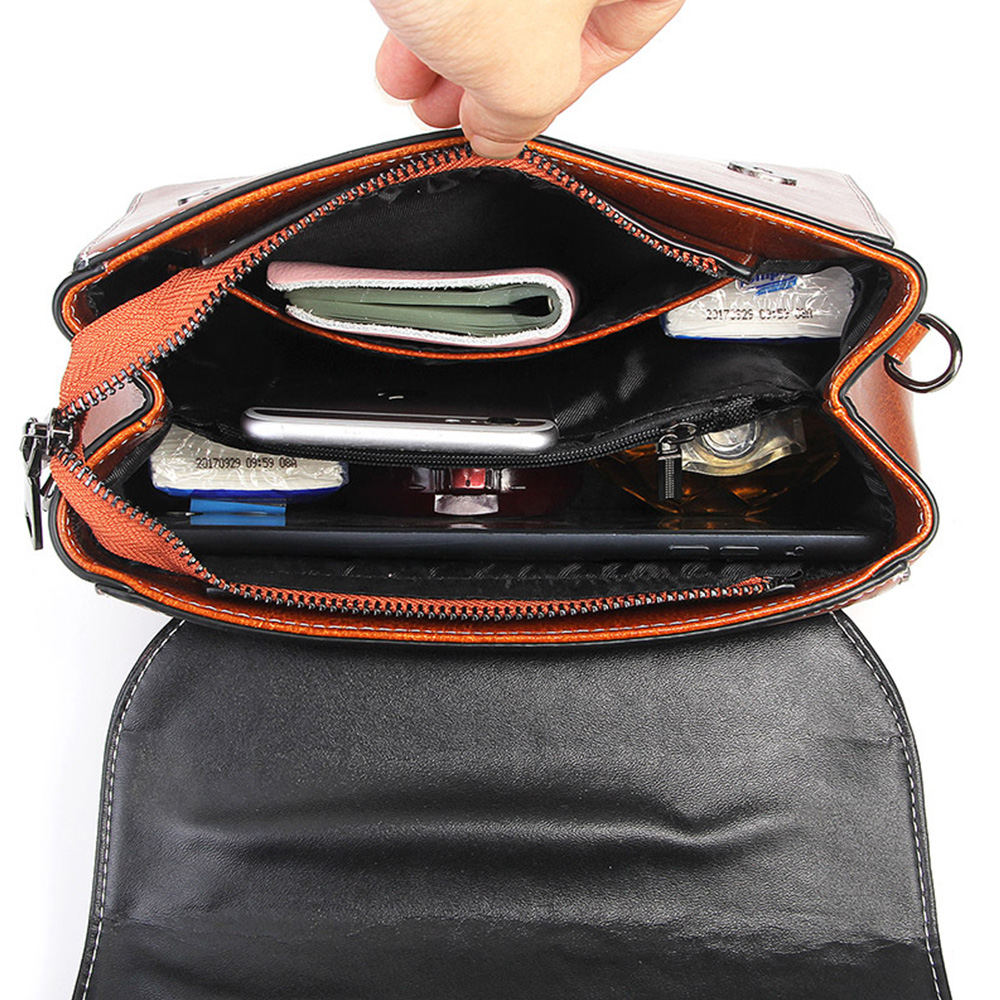 Image 5 - Zency Vintage Women Handbag 100% Genuine Leather Top Handle Tote  Bag Retro Brown High Quality Lady Crossbody Messenger PurseTop-Handle  Bags