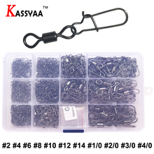 KASSYAA Fishing Rolling Swivels Connector With Snap Stainless Steel 2 4 6 8 10 12 14 1/0 2/0 3/0 4/0 Tools Kit 250pcs