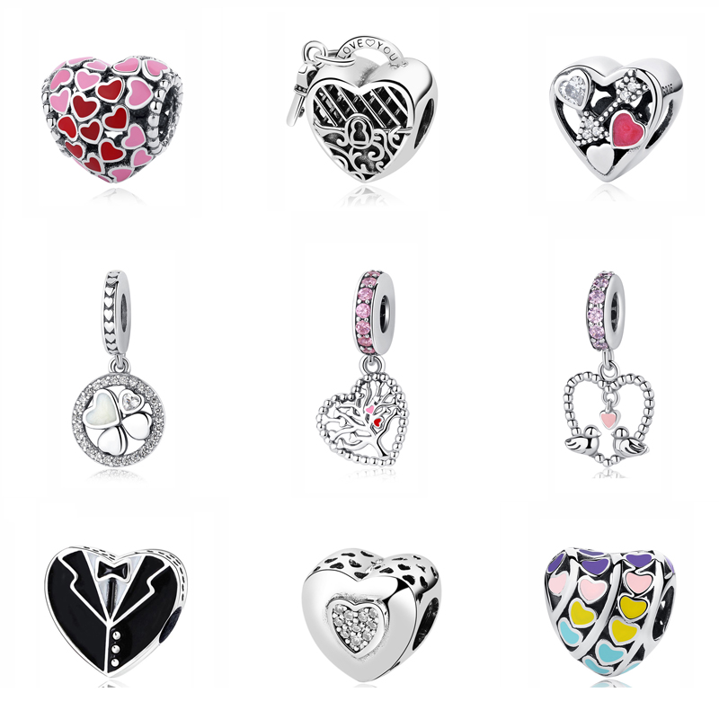 Oryginalny 100% 925 Sterling Silver Charm Paciorek Love Hearts Charms Fit Bransoletki Pandora Women Valentine's Gift Diy Jewelry