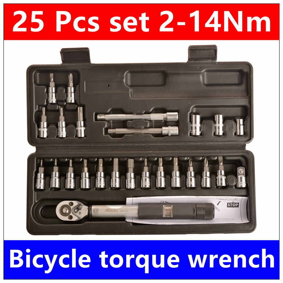 MXITA 15 Pcs set Bicycle torque wrench   1/4DR 2-14Nm  bike tools kit set tool bike repair spanner hand tool set mxita 5pcs kit spanner tyre whorl torque wrench set car repair tool 1 2 28 210nm hand tool set