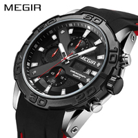 MEGIR Chronograph Sport Watch Men Relogio Masculino Top Brand Fashion Silicone Quartz Army Military Wrist Watches