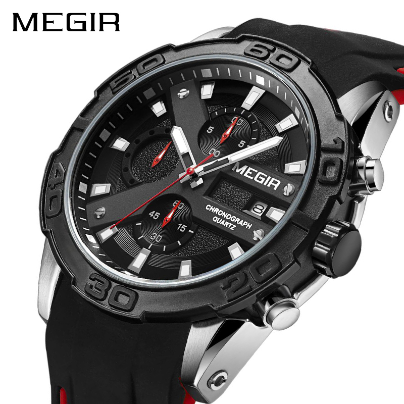 MEGIR Chronograph Sport Watch Men Relogio Masculino Top Brand Fashion Silicone Quartz Army Military Wrist Watches Clock Men 2055 reef tiger brand men s luxury swiss sport watches silicone quartz super grand chronograph super bright watch relogio masculino