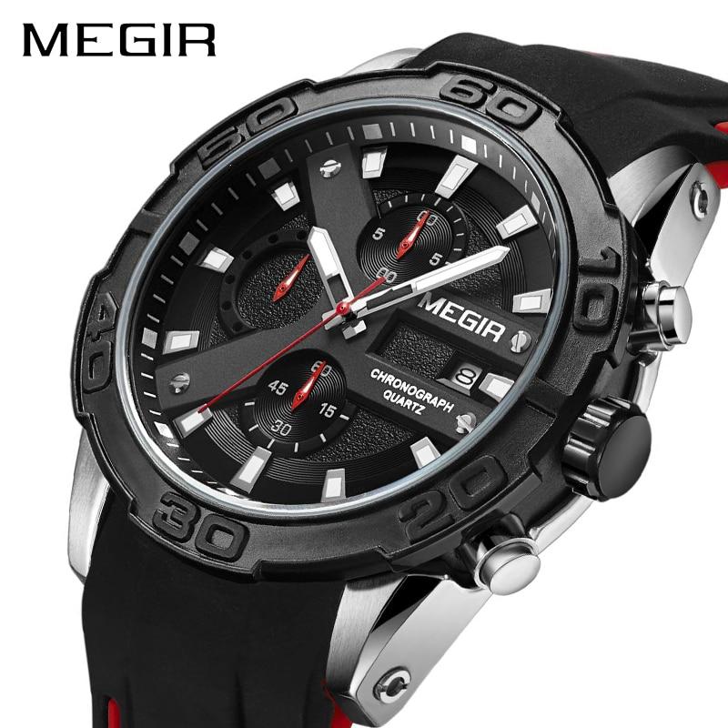 MEGIR Chronographe Sport Montre Hommes Relogio Masculino Top Marque De Mode Silicone Quartz Armée Militaire Montres Horloge Hommes 2055