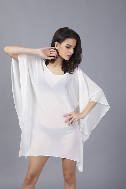 1b45e3dea2 2017 Verano Playa vestido corto Blanco Sexy Vestidos de Gasa de Las Mujeres  suelta de manga
