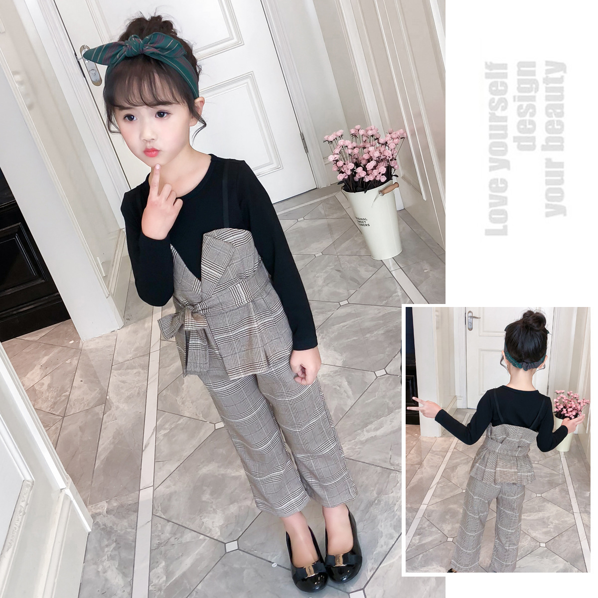Prom Clothing For Girls Teenagers Baby Girl Clothes Set Spring Long Sleeve Fashion Shirt + Plaid Pant 4-13 Years Ensemble Fille europe hot sale baby girls long sleeve velvet plaid top pant suit fashion childrens casual clothes princess clothing 16d1224