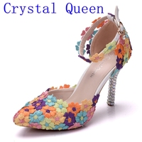 Crystal Queen Fashion Colorful Lace Flower Wedding Shoes Multicolor High Heel Sandals Banquet Pumps Handmade Prom