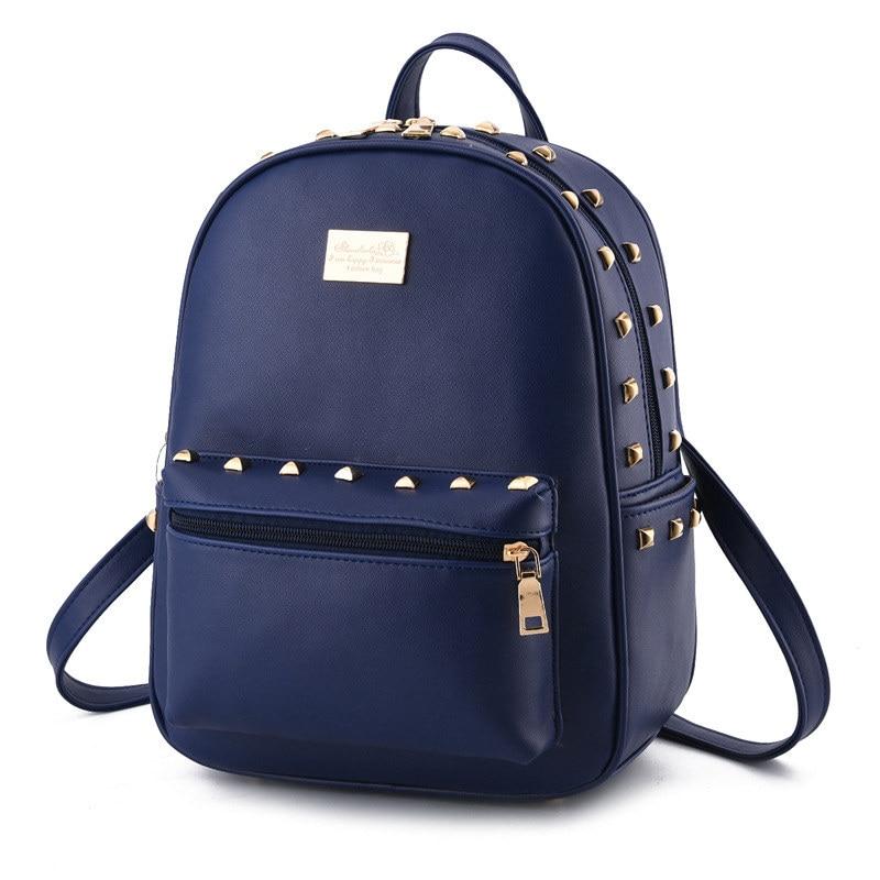 Royal Blue PU Women Backpacks Fashion Traveling Bag Casual Schoolbag Rivets Ajustable Straps цена