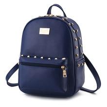 Royal Blue PU Women Backpacks Fashion Traveling Bag Casual Schoolbag Rivets Ajustable Straps цена 2017