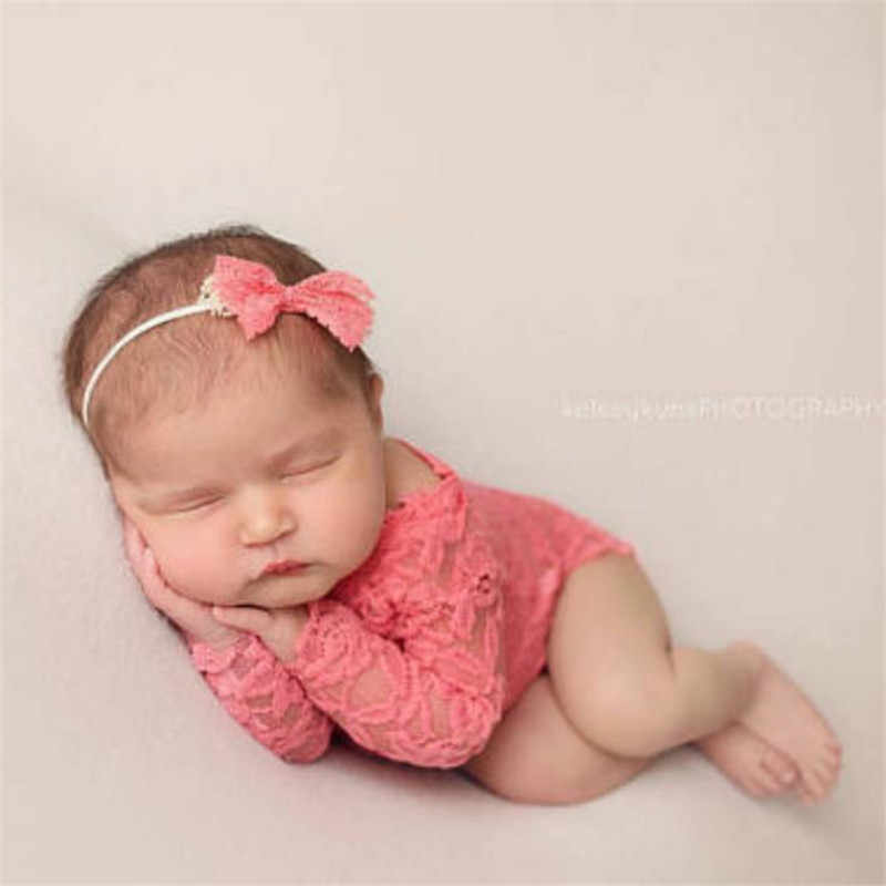 2Pcs/set Baby Photography Props Clothing with Headband Hollow Bowknot Lace Romper Newborn Girls Outfit