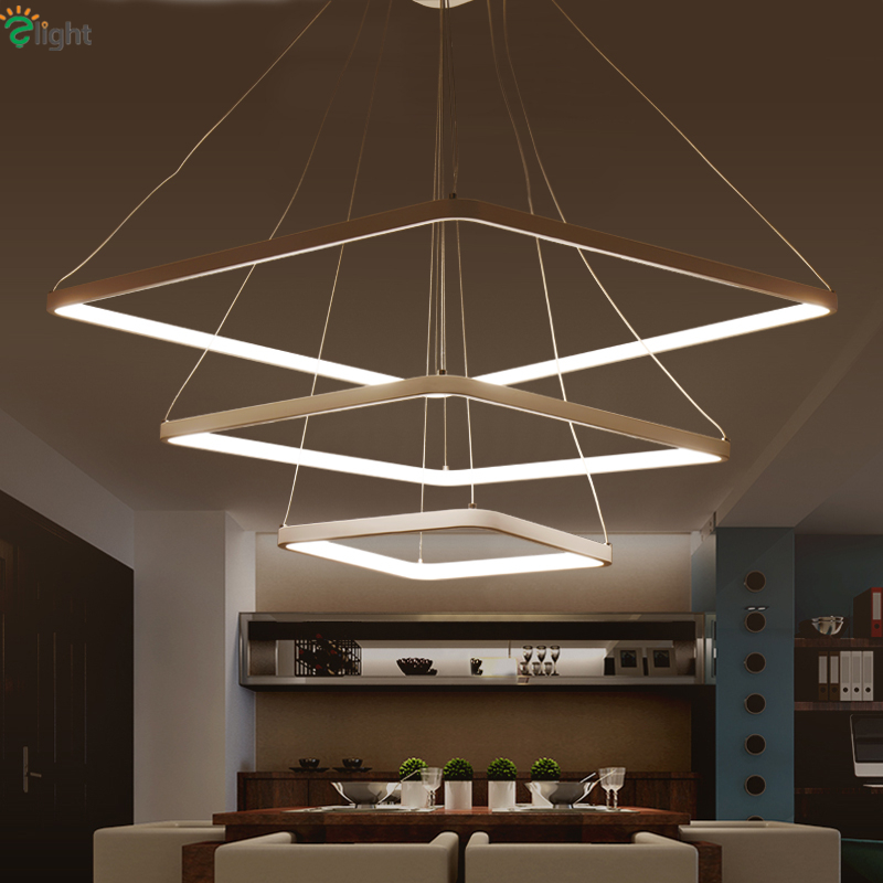 Minimalism Modern Dimmbable Rectangle Led Pendant Light For Living Room Remote Control DIY Pendant Lamp Suspension Luminarias