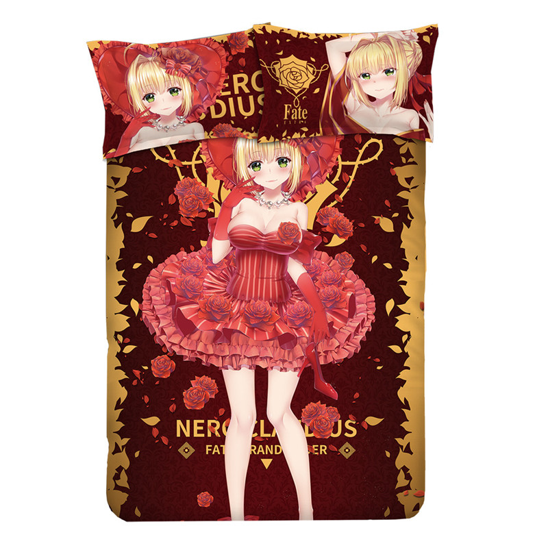 Game Anime Fate/EXTRA Nero Claudius Bedding Sets With Pillow Cases Bed Sheet Duvet Cover Set For 1.2M/1.5M/1.8M Bed