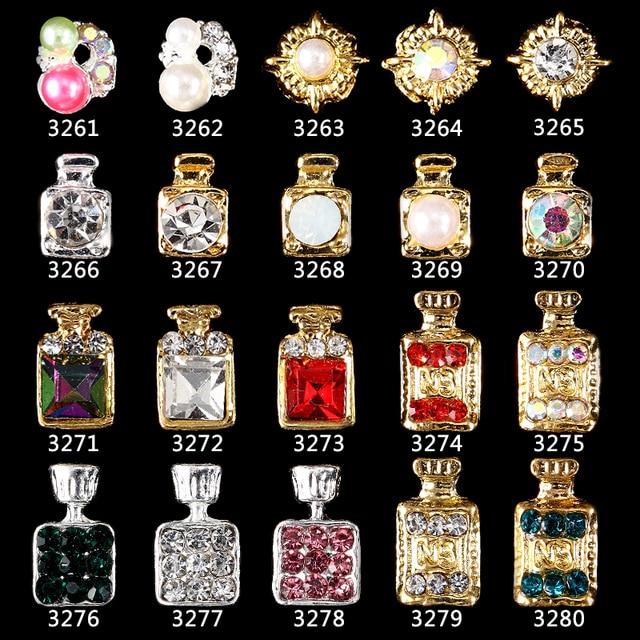 100pcs New Alloy Pearls Gems Perfume Bottle Nail Art Charm Rhinestone Sticker Lipstick Tips