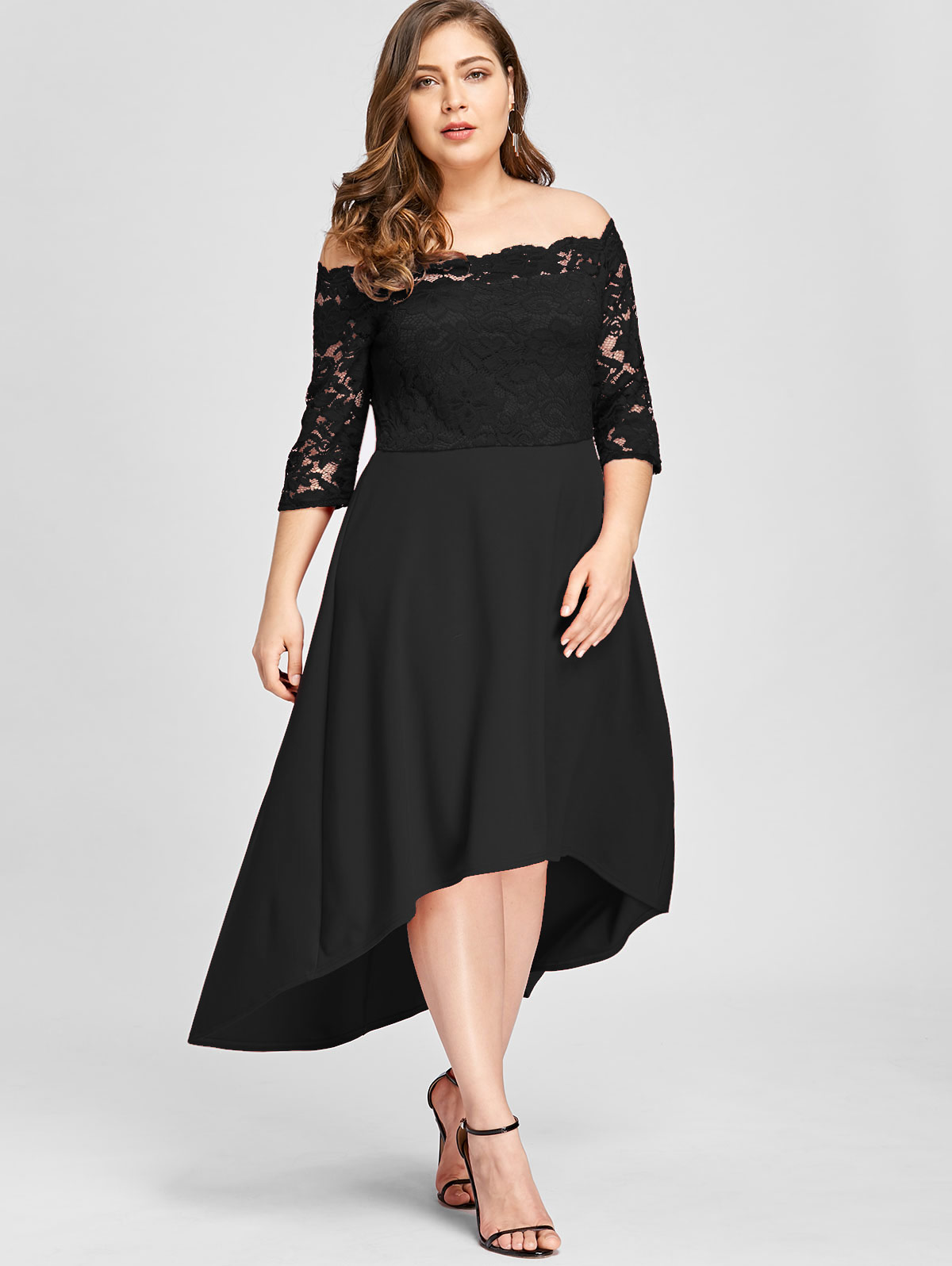 982a8d7a10 Dresses Length:Ankle-Length Neckline:Off The Shoulder Sleeve Length:3/4  Length Sleeves Embellishment:Lace Pattern Type:Solid With Belt:No Season: Spring,Fall ...