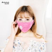 Moledodo 1PC Mode svart Bomull Vuxen munmask PM2.5 dammmask Anti-rök ansikte Maske skicka 4st filter på munen D50