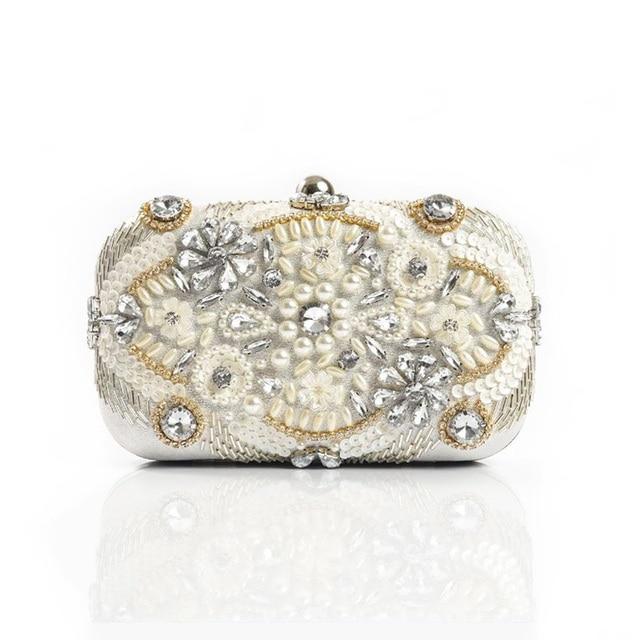 e89cdbe20dc Luxury Women Evening Bag Handmade Pearl Party Clutch Bag Bridal Wedding  Crystal Beaded Sequin Banquet Handbag For Elegant Ladies