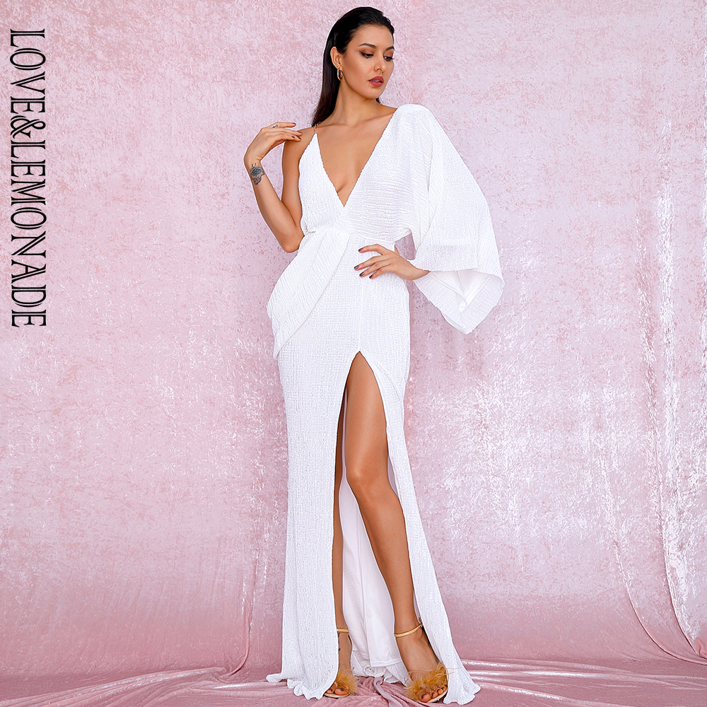 LOVE&LEMONADE Sexy White V-Neck Single Sleeve Sequins Split Party Maxi Dress LM81848 Autumn/Winter image