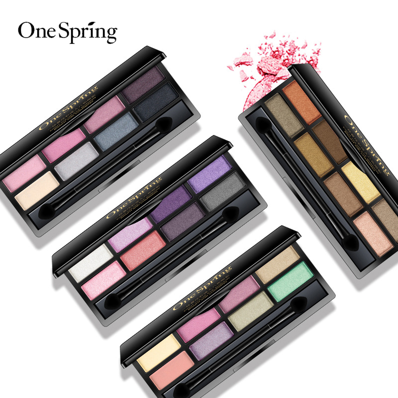 OneSpring eyeshadow palette 8 Colors Glitter eye shadow Eye Makeup Matte Glitter EyeShadow Long lasting make up in Eye Shadow from Beauty Health
