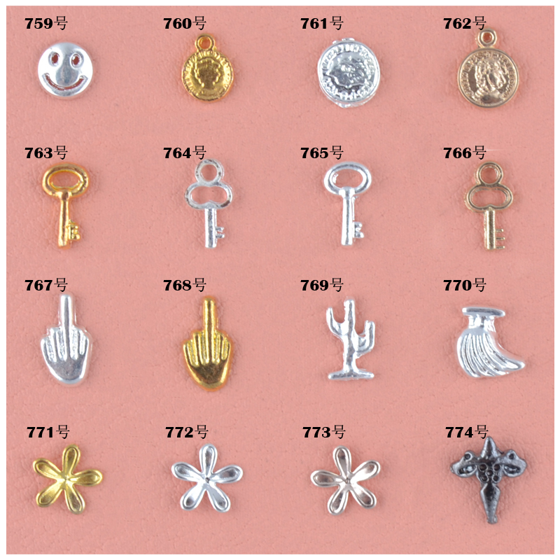 10 PcsBeautiful First Gold Product Gold And Silver Bronze Medal Key Smiling Face Vertical Middle Finger Cactus Banana Cross Gram