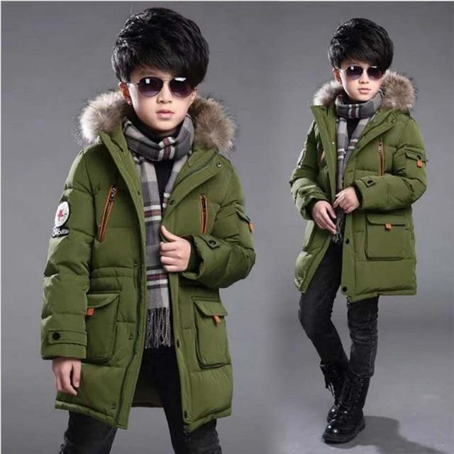 Детская зимняя куртка для мальчиков, Детская верхняя одежда, пальто с капюшоном, Длинные теплые толстые парки для мальчиков, пальто, Детские лыжная куртка для подростков